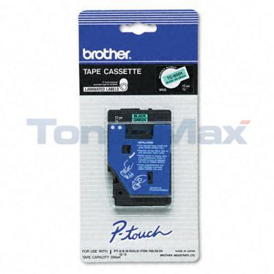 BROTHER P-TOUCH TAPE BLACK/GREEN (1/2 X 25)